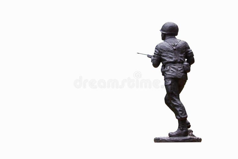 Soldado de brinquedo Isolated do metal no fundo branco fotos de stock