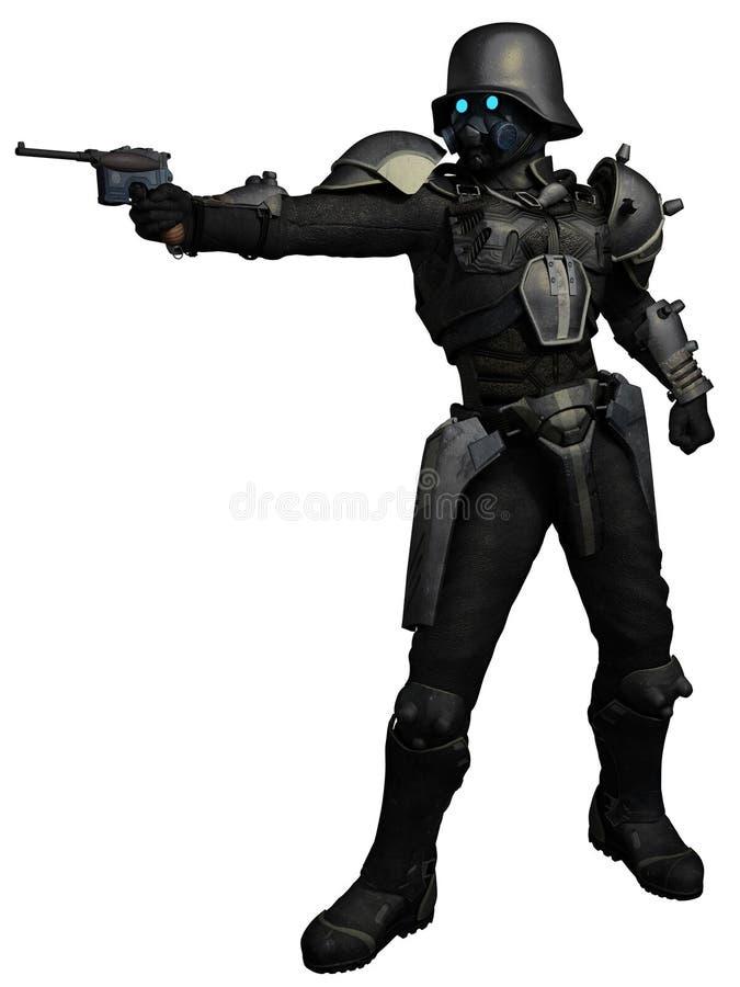 Soldado de caballería del punky del vapor ilustración del vector
