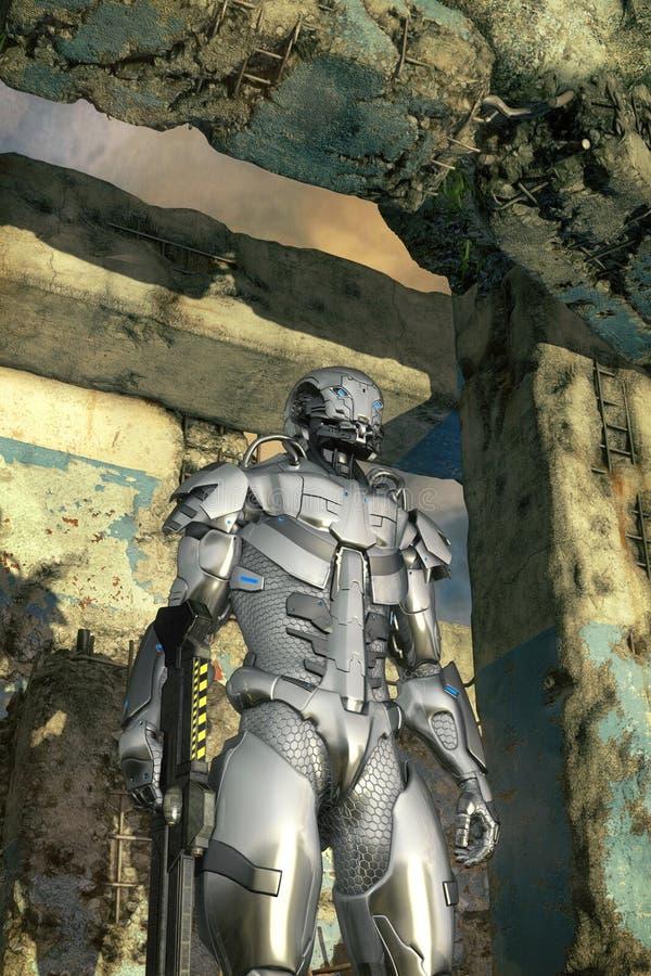 Soldado de caballería del robot del soldado ilustración del vector