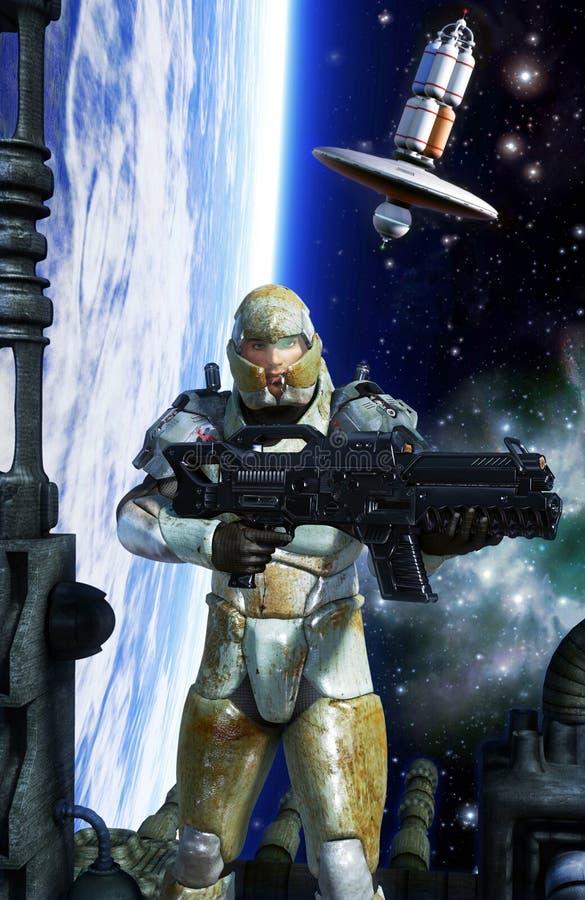 Soldado de caballería futurista del infante de marina del espacio del soldado stock de ilustración