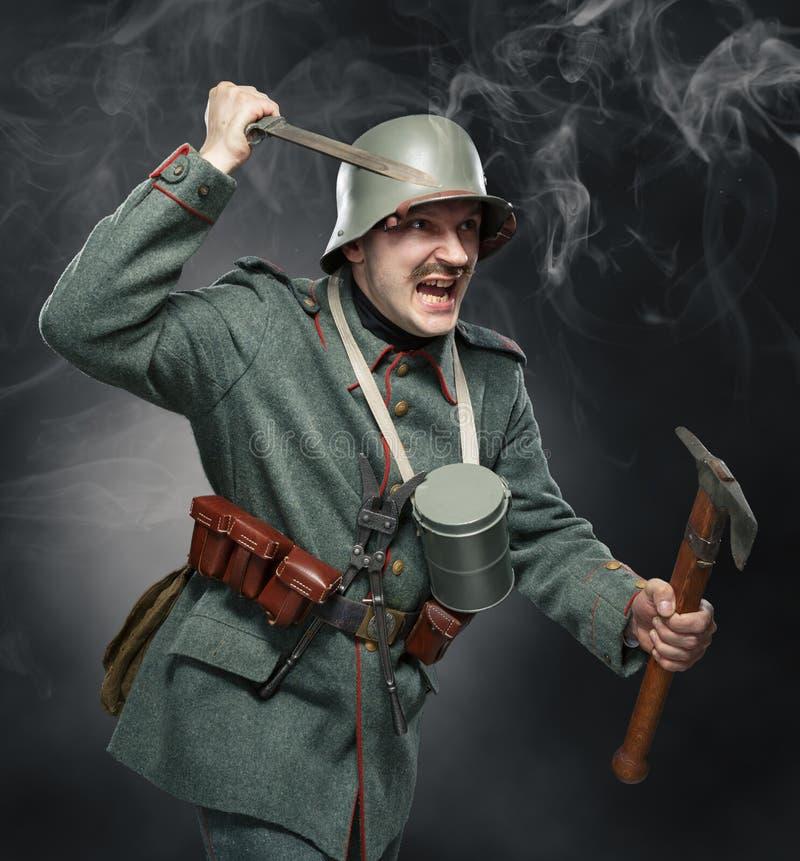 Soldado de infantería alemán durante la primera guerra mundial. foto de archivo libre de regalías