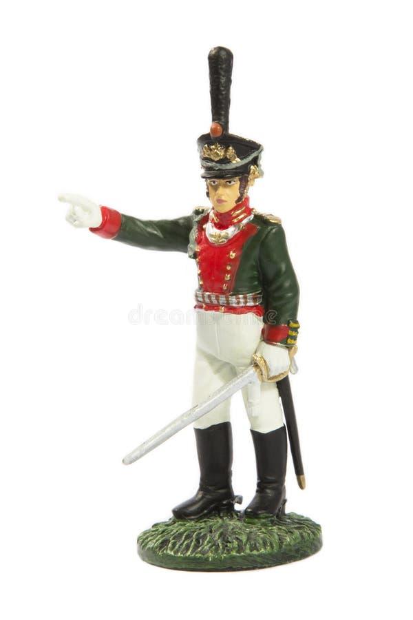 Soldado de juguete aislado en blanco fotografía de archivo