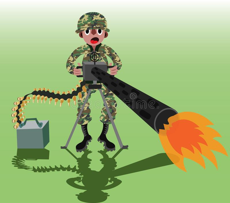 Soldado de la ametralladora ilustración del vector