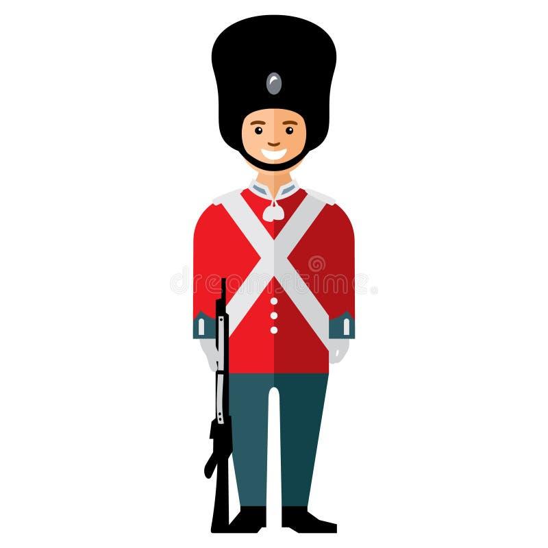 Soldado de la guardia de británicos del vector Ejemplo colorido de la historieta del estilo plano stock de ilustración