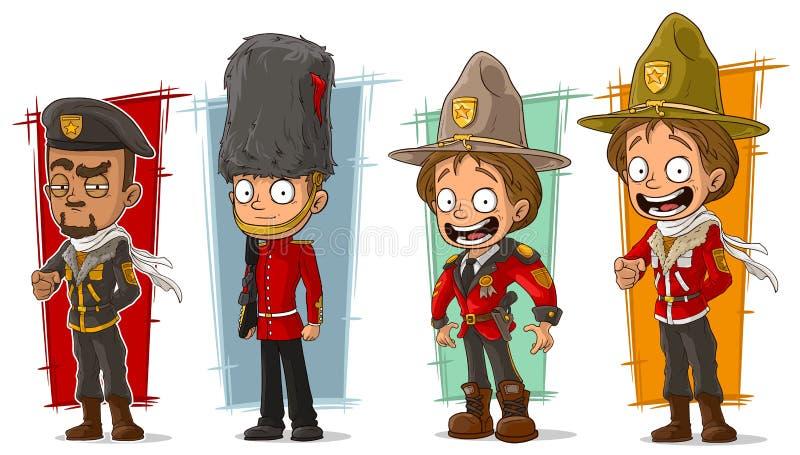 Soldado de la historieta y sistema del vector del carácter de los guardabosques libre illustration