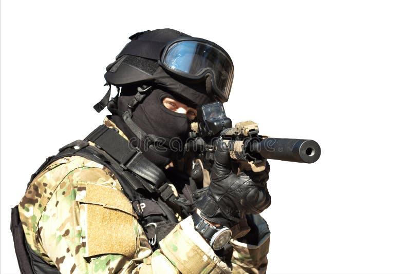 Soldado de las fuerzas especiales, aislado en blanco fotos de archivo libres de regalías