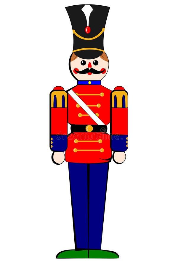 Soldado de madera aislado del juguete stock de ilustración