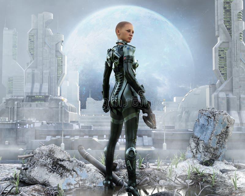Soldado de sexo femenino acorazado que presenta delante de una ciudad futurista ilustración del vector