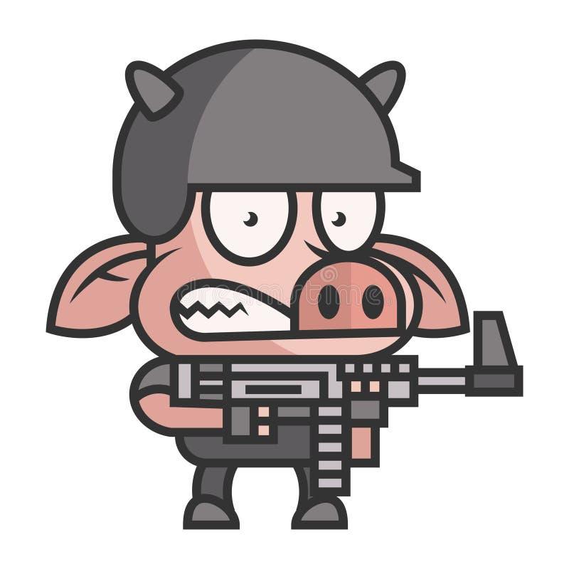 Soldado del cerdo que sostiene la ametralladora libre illustration