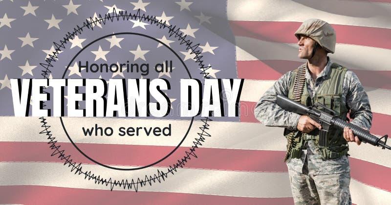 soldado del día de veteranos delante de la bandera stock de ilustración