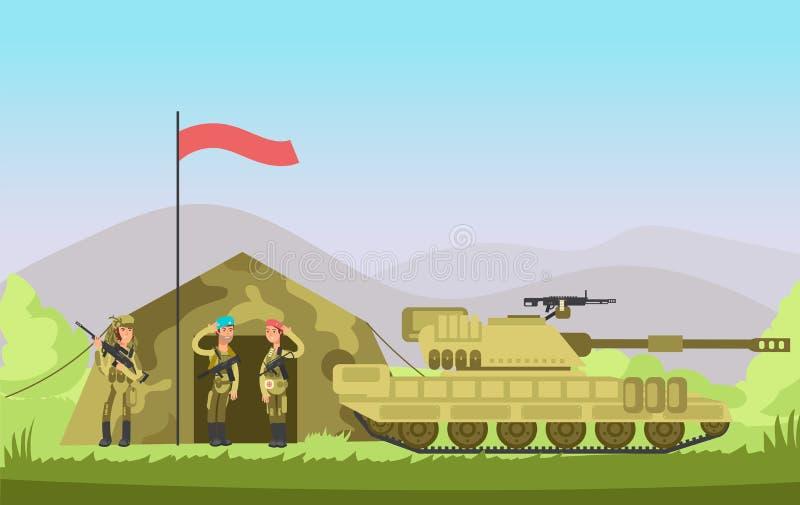 Soldado del Ejército de los EE. UU. con el arma en uniforme Combate de la historieta Fondo militar del vector ilustración del vector