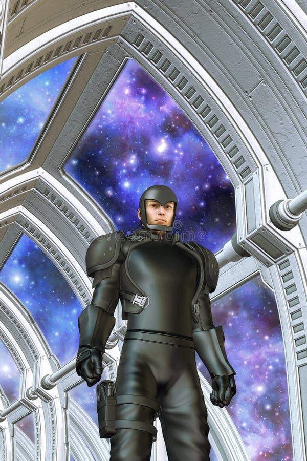 Soldado del espacio stock de ilustración