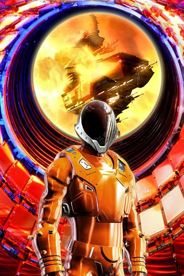 Soldado del espacio en armadura stock de ilustración