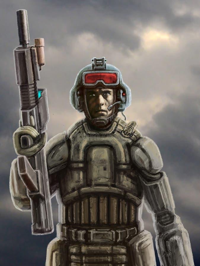 Soldado del futuro con un rifle contra un cielo tempestuoso stock de ilustración