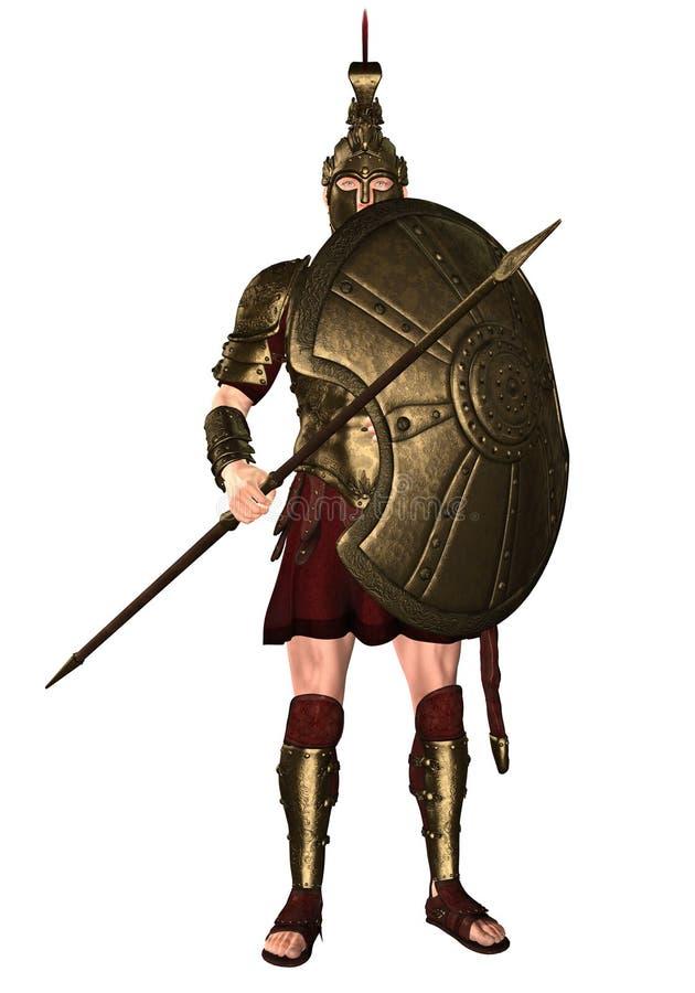 Soldado del hoplita en armadura de oro ilustración del vector