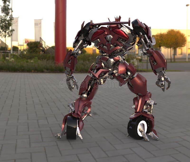 Soldado del mí-ch de la ciencia ficción que se coloca en un fondo del paisaje Robot futurista militar con un verde y un metal gri libre illustration