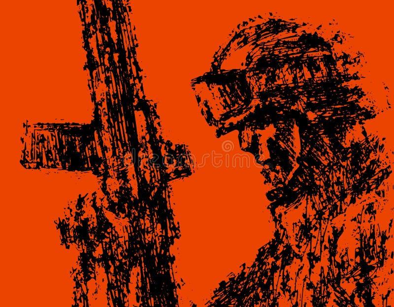 Soldado del perfil en casco con el arma Ilustración del vector libre illustration
