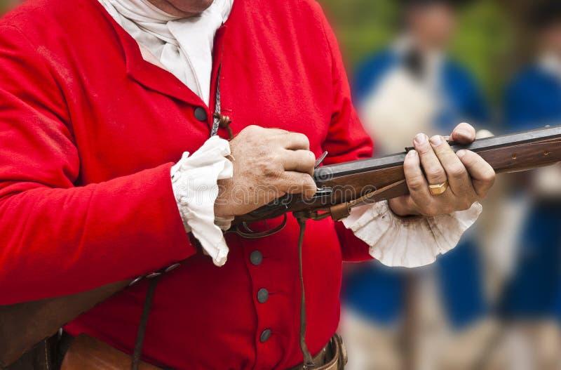 Soldado del siglo XVIII fotos de archivo