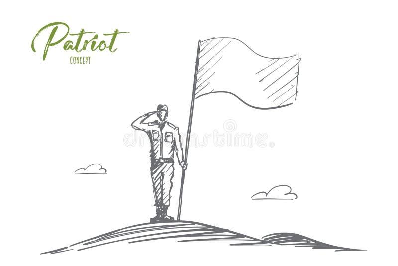 Soldado dibujado mano del patriota que se coloca con la bandera ilustración del vector