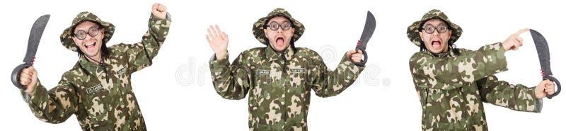 Soldado divertido aislado en blanco fotografía de archivo libre de regalías