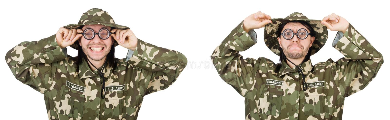 Soldado divertido aislado en blanco fotos de archivo