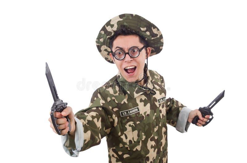 Download Soldado Divertido Con El Cuchillo Imagen de archivo - Imagen de chistoso, lucha: 41915177