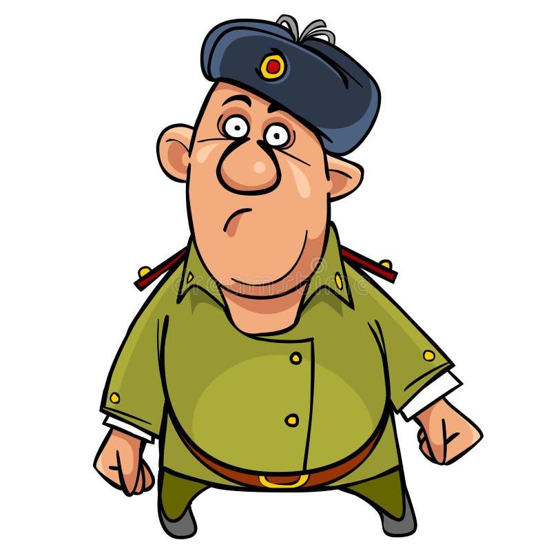 Soldado divertido de la historieta en un sombrero de piel digno de sorprendido stock de ilustración