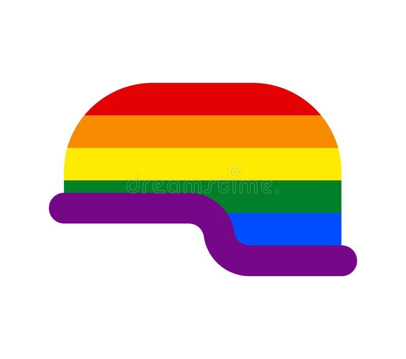 Soldado do capacete de LGBT Tampão militar alegre exército da defesa do chapéu ilustração do vetor