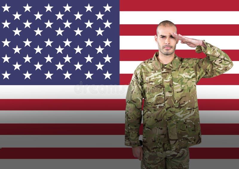 soldado do dia de veteranos na frente da bandeira ilustração do vetor