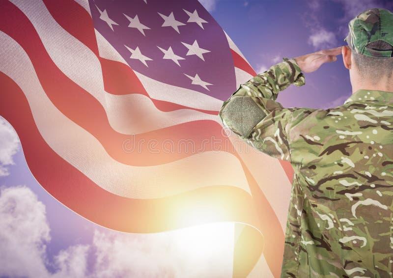 soldado do dia de veteranos na frente da bandeira ilustração stock