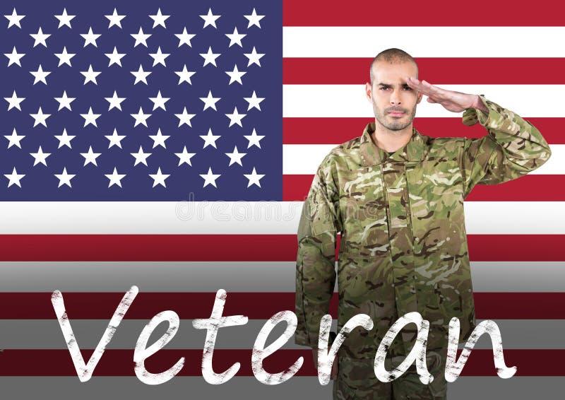 soldado do dia de veteranos na frente da bandeira ilustração royalty free