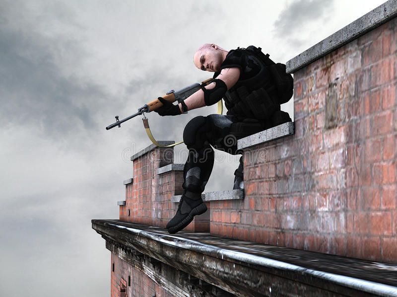 Soldado do exército das forças especiais - atirador furtivo ilustração do vetor