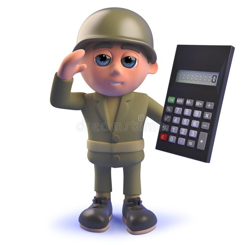 Soldado do exército do personagem de banda desenhada 3d que guarda uma calculadora digital ilustração stock