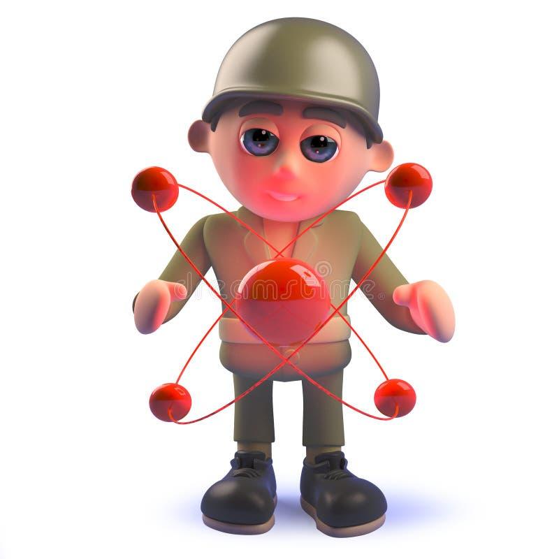Soldado do exército do personagem de banda desenhada em 3d com partícula atômica nuclear ilustração stock