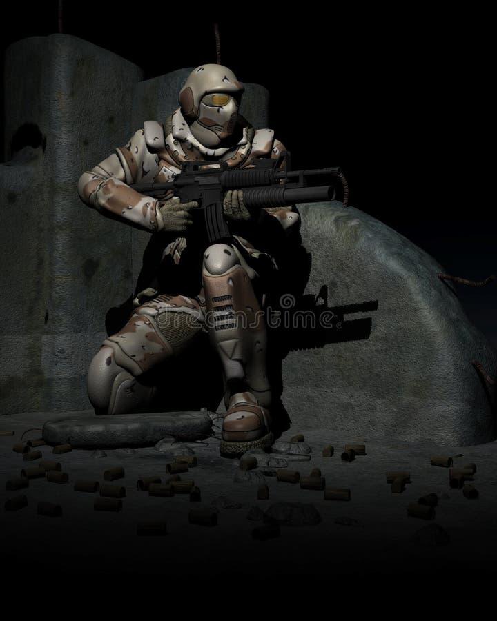 Soldado do fuzileiro naval do espaço. warhammer ilustração royalty free