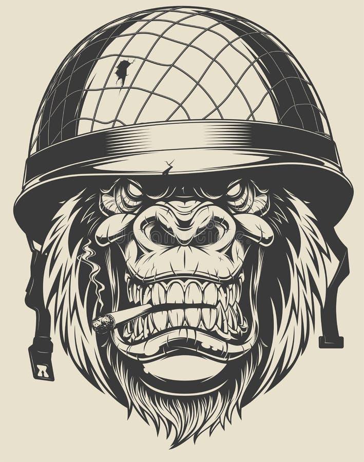 Soldado do macaco com um cigarro ilustração stock
