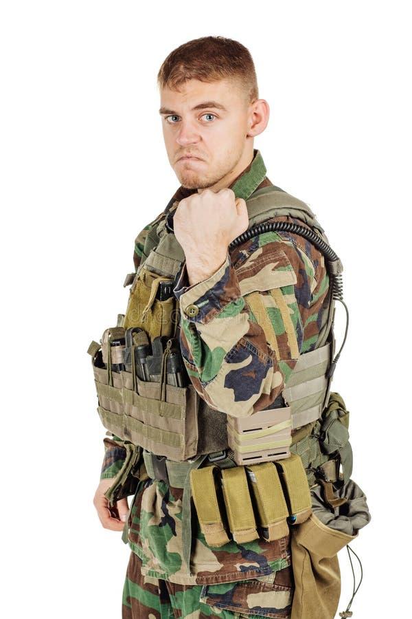 Soldado do retrato ou contratante militar privado que mostram primeiramente imagem de stock