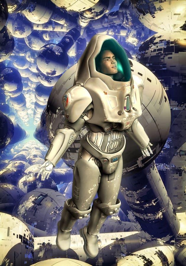 Soldado do uniforme do astronauta ilustração do vetor