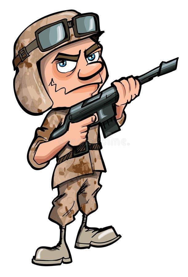 Soldado dos desenhos animados isolado no branco ilustração royalty free
