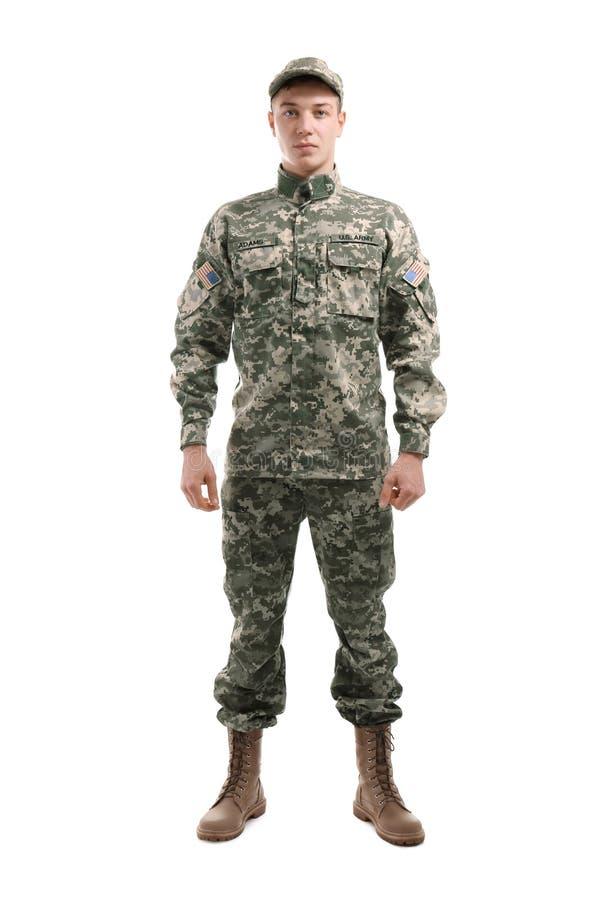 Soldado en camuflaje en fondo imágenes de archivo libres de regalías