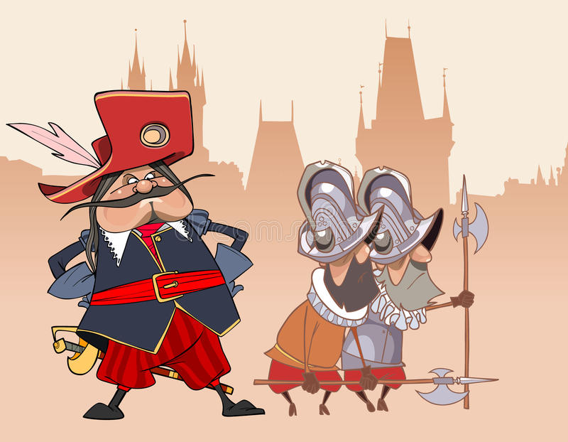 Soldado engraçado dos desenhos animados o mosqueteiro e os protetores ilustração royalty free