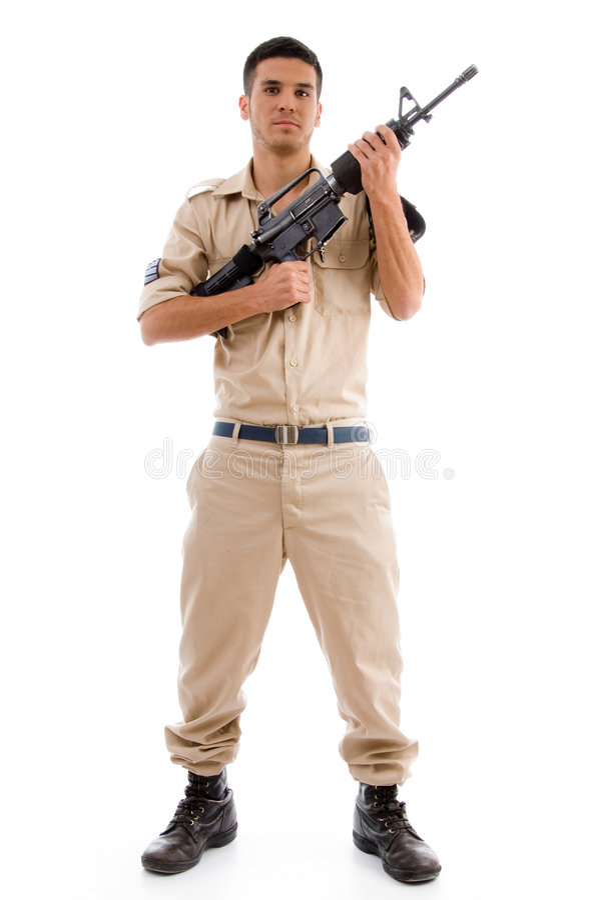 Soldado ereto que levanta com injetor imagens de stock