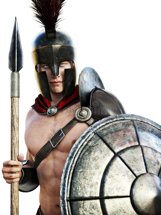Soldado espartano en vestido de batalla libre illustration