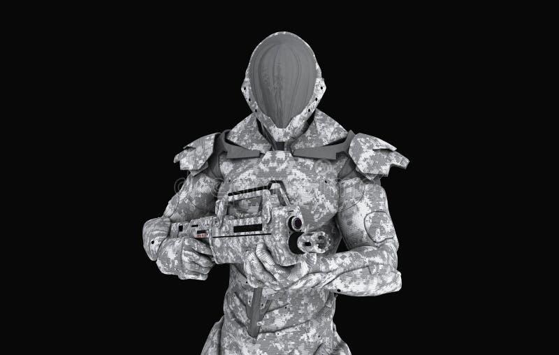 Soldado estupendo avanzado ilustración del vector