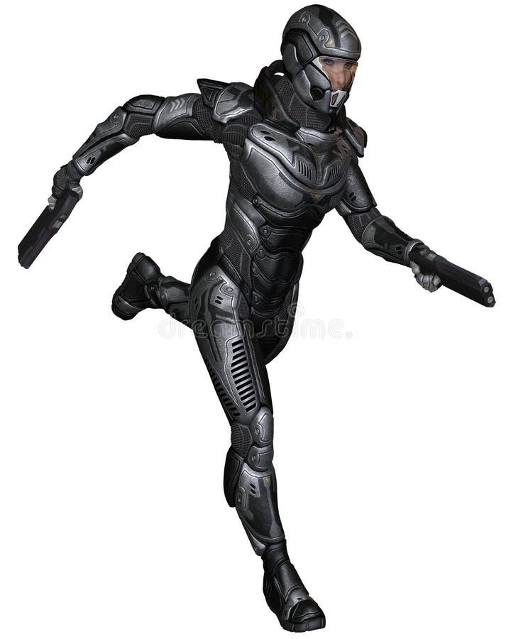 Soldado fêmea da ficção científica - correndo ilustração stock