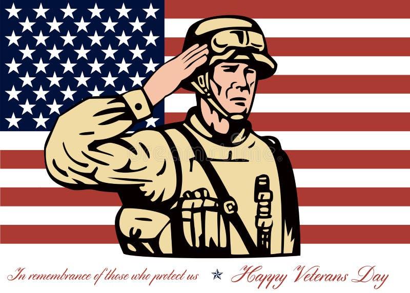 Soldado feliz Salute do cartão do dia de veteranos ilustração royalty free