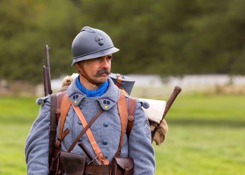Soldado francés de la infantería de WW1 imagenes de archivo