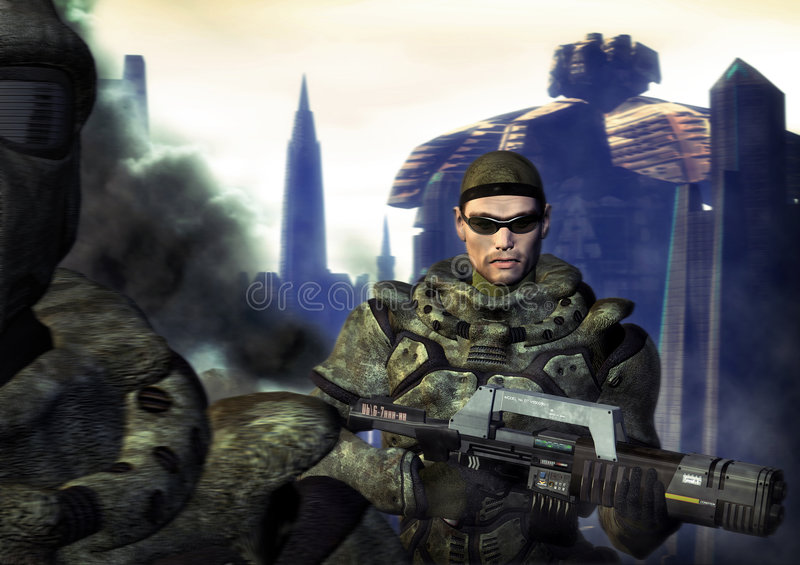 Soldado futurista stock de ilustración