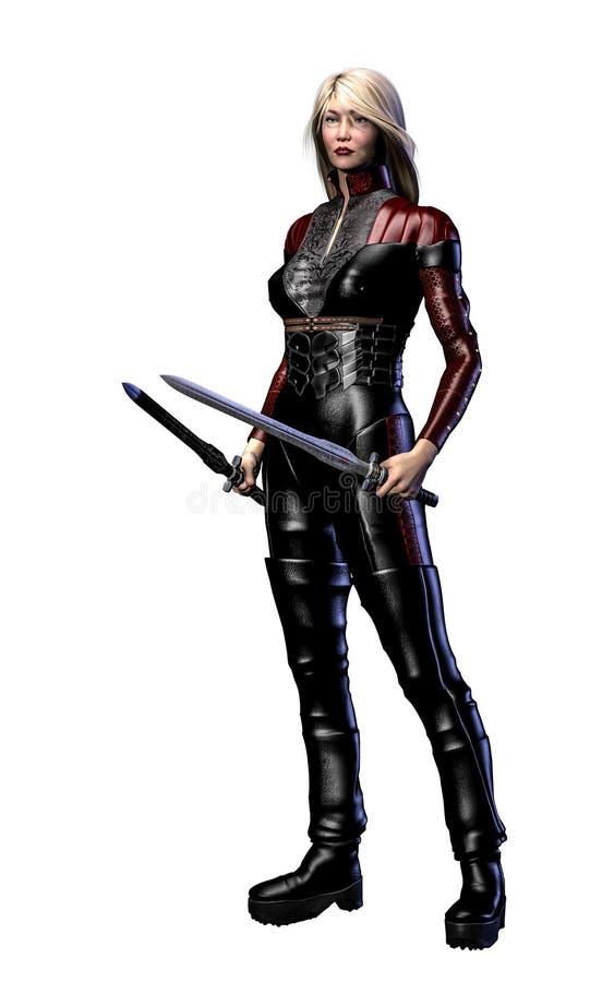 Soldado futurista da mulher, armado com as espadas, ilustra??o 3d ilustração stock