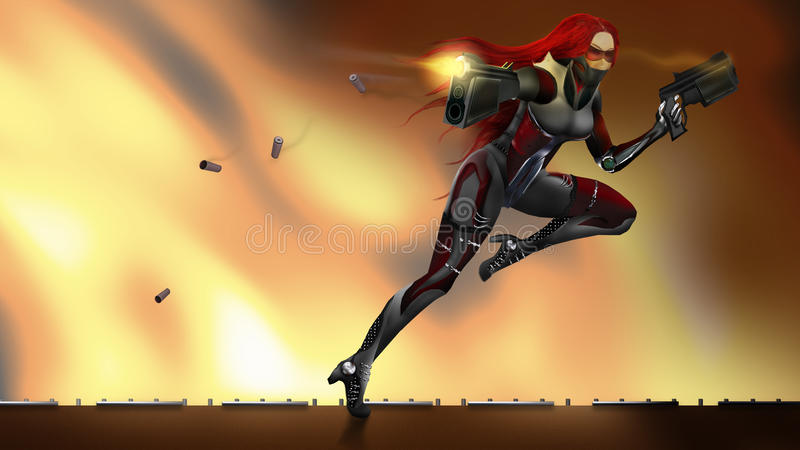 Soldado futurista de la muchacha ilustración del vector